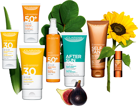 Clarins sun products selection