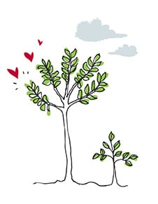 Illustration of trees with hearts