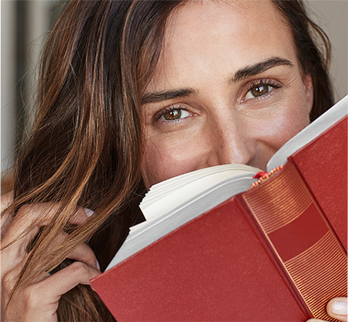 Model with book